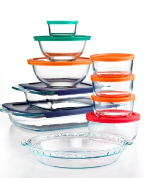 Pyrex 19 Piece Bake, Store and Prep Set with Colored Lids